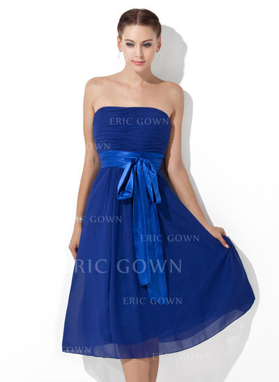 Empire Chiffon Bridesmaid Dresses Ruffle Sash Bow(s) Strapless Sleeveless Knee-Length (007000839)