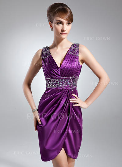 Sheath/Column Charmeuse Sleeveless V-neck Knee-Length Zipper Up Mother of the Bride Dresses (008006127)