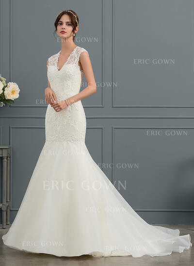 Trumpet/Mermaid V-neck Court Train Organza Wedding Dress (002153460)
