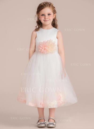 A-Line/Princess Tea-length Flower Girl Dress - Satin/Tulle Sleeveless Scoop Neck With Flower(s) (Detachable sash) (010132394)