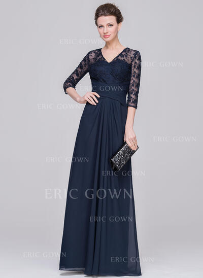 A-Line/Princess V-neck Floor-Length Chiffon Lace Mother of the Bride Dress With Ruffle (008058419)