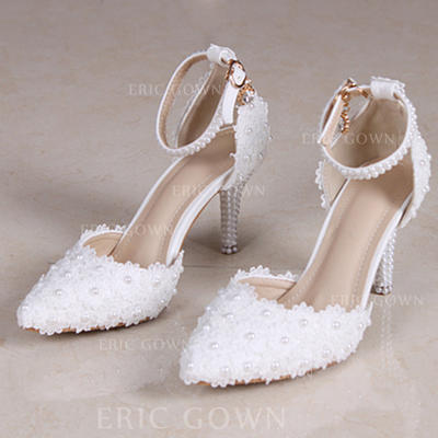 Women's Closed Toe Pumps Sandals Stiletto Heel Leatherette With Flower Braided Strap Wedding Shoes (047206486)