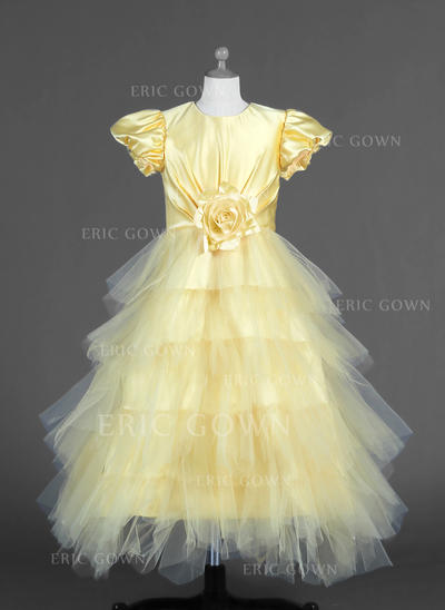 Fashion Scoop Neck A-Line/Princess Flower Girl Dresses Ankle-length Tulle/Charmeuse Short Sleeves (010007294)