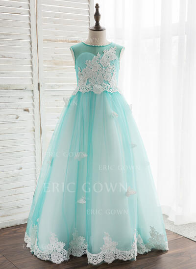 A-Line/Princess Floor-length Flower Girl Dress - Tulle/Lace Sleeveless Scoop Neck With Beading (010164728)