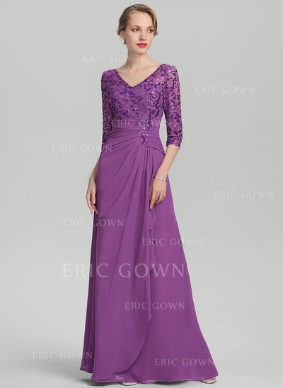 A-Line/Princess Chiffon Sequined 1/2 Sleeves V-neck Floor-Length Zipper Up Mother of the Bride Dresses (008131957)