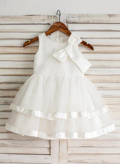 Ball Gown Knee-length Flower Girl Dress - Satin/Tulle Sleeveless Scoop Neck With Ruffles/Bow(s) (010093191)