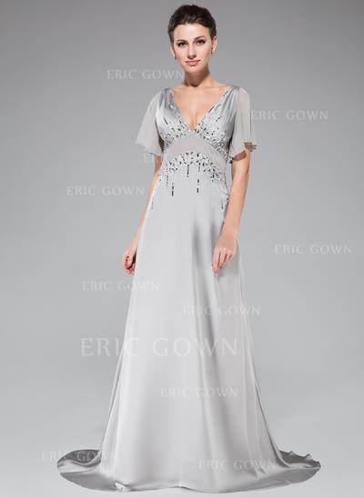 A-Line/Princess V-neck Sweep Train Evening Dresses With Beading Sequins Cascading Ruffles (017201509)