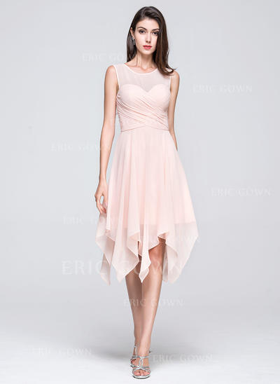 A-Line/Princess Chiffon Bridesmaid Dresses Ruffle Scoop Neck Sleeveless Asymmetrical (007199090)