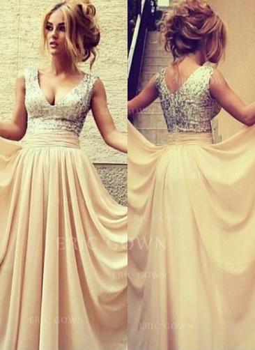 A-Line/Princess Floor-Length Prom Dresses V-neck Chiffon Sleeveless (018144658)