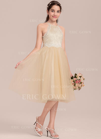A-Line/Princess Knee-length Flower Girl Dress - Tulle/Lace Sleeveless Scoop Neck (010144540)