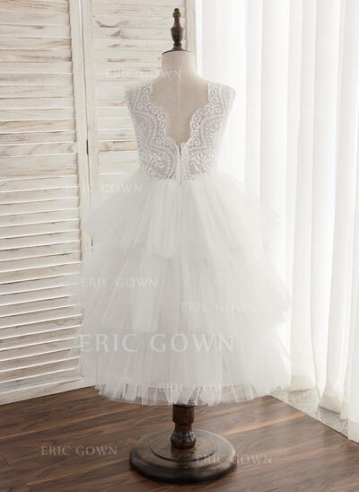A-Line/Princess Ankle-length Flower Girl Dress - Tulle/Lace Sleeveless Scoop Neck With V Back (010164609)