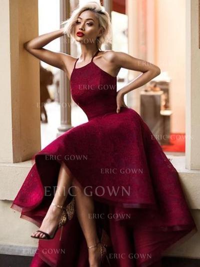 A-Line/Princess Square Neckline Asymmetrical Prom Dresses (018217937)