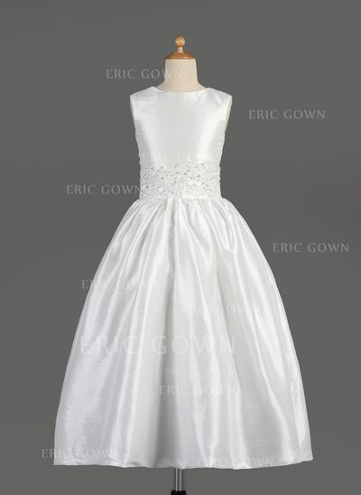 Newest Scoop Neck A-Line/Princess Flower Girl Dresses Ankle-length Taffeta Sleeveless (010014609)