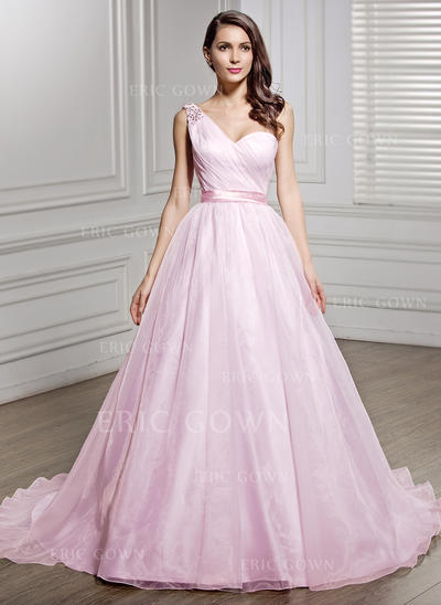 One Shoulder A-Line/Princess Wedding Dresses Organza Ruffle Beading Sequins Bow(s) Sleeveless Court Train (002056447)
