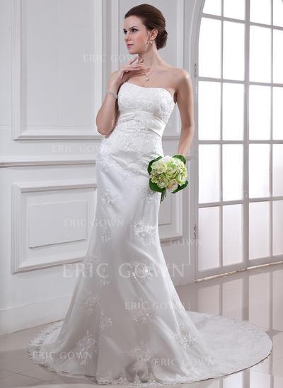 Trumpet/Sjöjungfru Älsklingsringning Chapel släp Bröllopsklänningar med Beading Applikationer Spetsar (002000186)