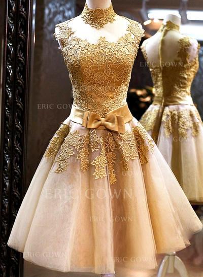 A-Line/Princess High Neck Knee-Length Prom Dresses With Bow(s) (018148324)