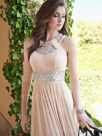 A-Line/Princess Scoop Neck Floor-Length Chiffon Evening Dresses With Ruffle Beading (017217810)