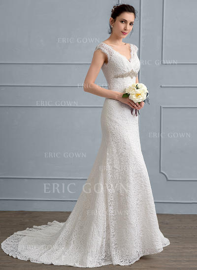 Trumpet/Mermaid V-neck Sweep Train Lace Wedding Dress With Beading (002111932)