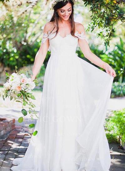 A-Line/Princess Chiffon Sleeveless Off-The-Shoulder Sweep Train Wedding Dresses (002146964)