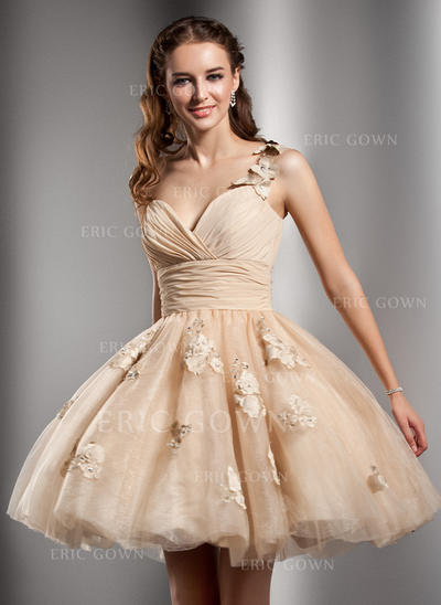 A-Line/Princess One-Shoulder Short/Mini Tulle Homecoming Dresses With Ruffle Beading Flower(s) (022213919)