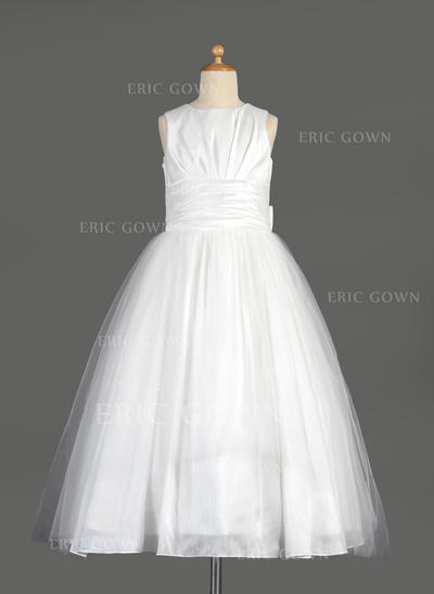 Glamorous Scoop Neck Empire Flower Girl Dresses Tea-length Taffeta/Tulle Sleeveless (010014642)