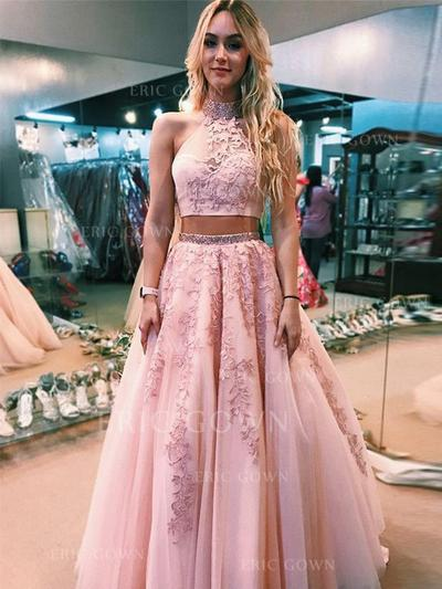 A-Line/Princess High Neck Floor-Length Prom Dresses With Beading Appliques (018219245)