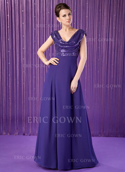 A-Line/Princess Chiffon Sequined Sleeveless Cowl Neck Floor-Length Zipper Up at Side Mother of the Bride Dresses (008213155)