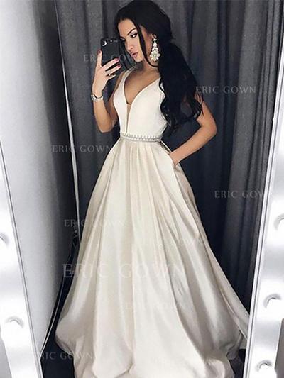 A-Line/Princess V-neck Floor-Length Satin Evening Dresses With Beading (017217171)