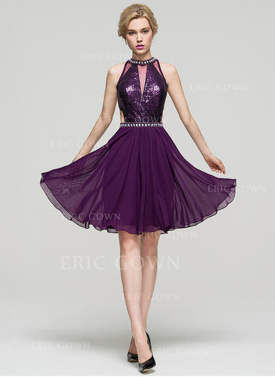 A-Line/Princess Scoop Neck Knee-Length Chiffon Homecoming Dresses With Beading (022214124)