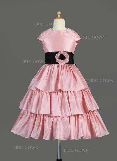 Beautiful Scoop Neck A-Line/Princess Flower Girl Dresses Tea-length Taffeta Sleeveless (010014645)