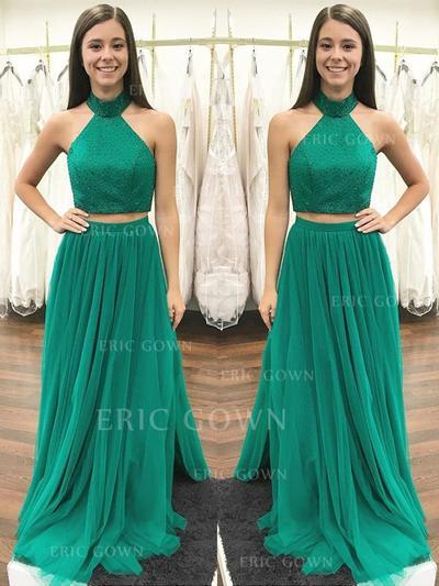 A-Line/Princess Tulle Prom Dresses Beading Halter Sleeveless Floor-Length (018148440)