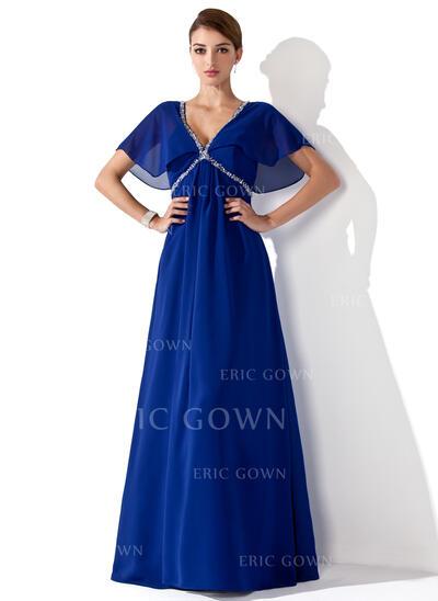 Empire V-neck Floor-Length Chiffon Mother of the Bride Dress With Ruffle Beading (008013102)