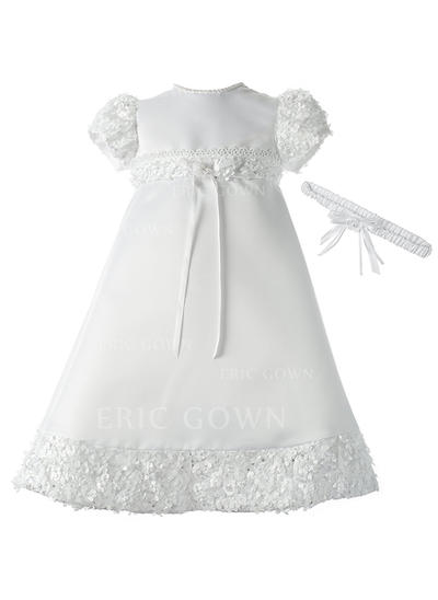 A-Line/Princess Scoop Neck Floor-length Satin Christening Gowns With Lace Beading (2001217392)