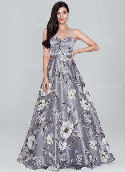 A-Line/Princess Sweetheart Floor-Length Organza Prom Dresses (018138852)