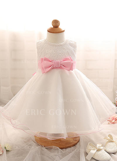 A-Line/Princess Scoop Neck Floor-length Tulle Christening Gowns With Beading (2001218001)
