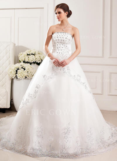 Strapless Ball-Gown Wedding Dresses Tulle Lace Beading Flower(s) Sequins Sleeveless Cathedral Train (002213310)