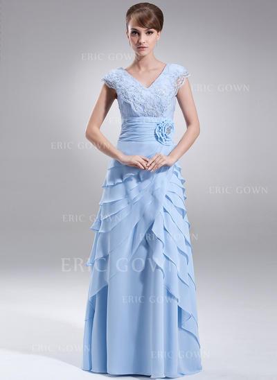 A-Line/Princess Chiffon Sleeveless V-neck Floor-Length Zipper Up Mother of the Bride Dresses (008213113)