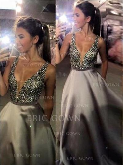 A-Line/Princess V-neck Sweep Train Prom Dresses With Sequins (018148425)