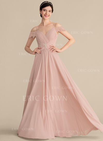 A-Line/Princess Sweetheart Floor-Length Chiffon Bridesmaid Dress With Ruffle Lace Beading (007165857)
