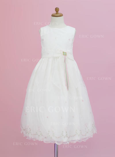 Elegant Scoop Neck A-Line/Princess Flower Girl Dresses Ankle-length Organza Sleeveless (010005343)