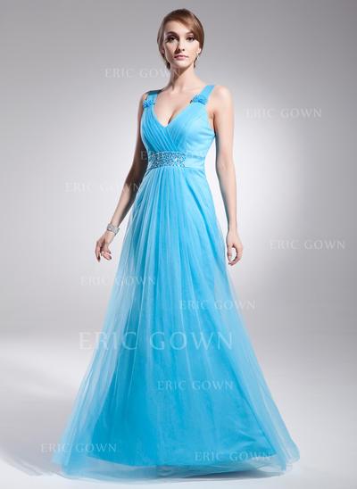 A-Line/Princess Tulle Prom Dresses Ruffle Beading V-neck Sleeveless Floor-Length (018021131)