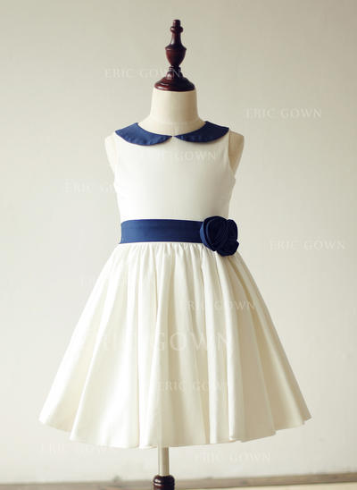 Chic Peter Pan Collar A-Line/Princess Flower Girl Dresses Knee-length Cotton Sleeveless (010210151)
