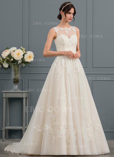 Ball-Gown/Princess Illusion Chapel Train Tulle Lace Wedding Dress With Beading Sequins (002153428)