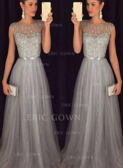 A-Line/Princess Scoop Neck Sweep Train Prom Dresses With Sash Beading (018212201)