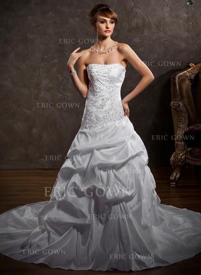 Stunning Strapless A-Line/Princess Wedding Dresses Cathedral Train Taffeta Sleeveless (002196880)