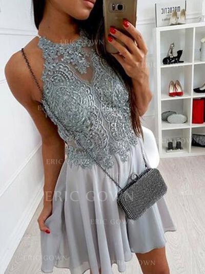A-Line/Princess Halter Scoop Neck Short/Mini Cocktail Dresses With Lace Appliques Lace (016218364)