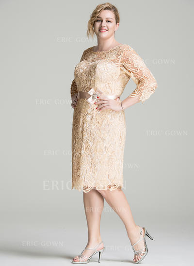Sheath/Column Lace 3/4 Sleeves Scoop Neck Knee-Length Zipper Up Mother of the Bride Dresses (008077019)