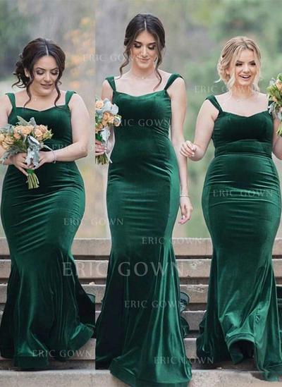 Sheath/Column Square Neckline Sweep Train Velvet Bridesmaid Dresses (007217806)