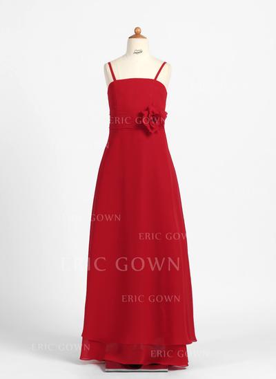 Simple A-Line/Princess Flower Girl Dresses Floor-length Chiffon Sleeveless (010007841)