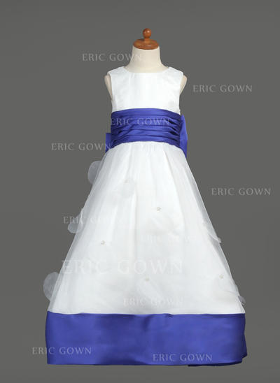 Modern Scoop Neck Empire Flower Girl Dresses Floor-length Organza/Satin Sleeveless (010007468)